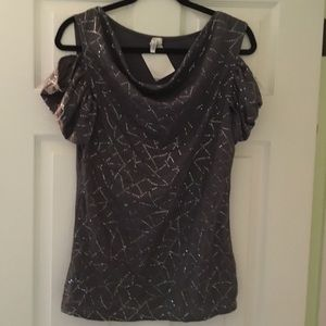 NEW! Gray Cold Shoulder Fancy Bedazzled Top